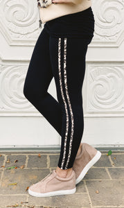 Jaguar Print Striped Highwaist Leggings