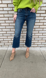 High Rise Kick Flare Crop Jeans