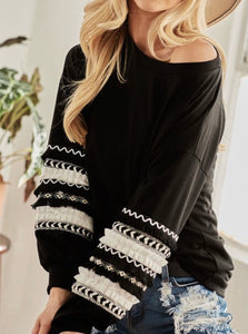 Black Long Sleeve with Trim Detail