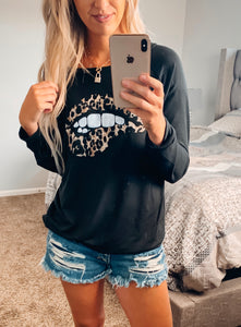 Black French Terry Leopard Lips Top