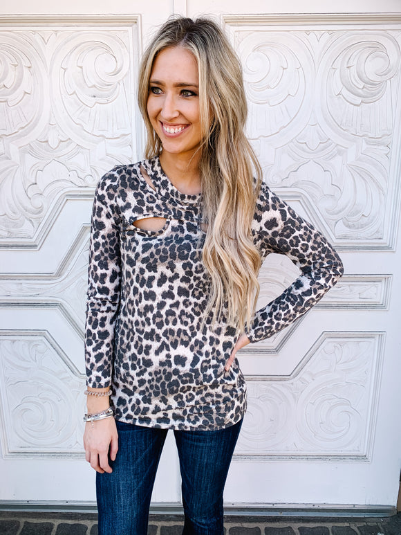 Brown Leopard Cut Out Long Sleeve Top