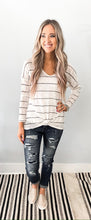 White/ Black Stripe Knit Scoop Neck Top