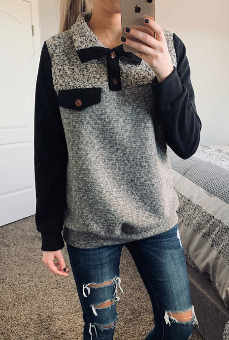 Color Block Two Tone Fabric Pullover