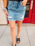 Light Distressed Denim KanCan Skirt