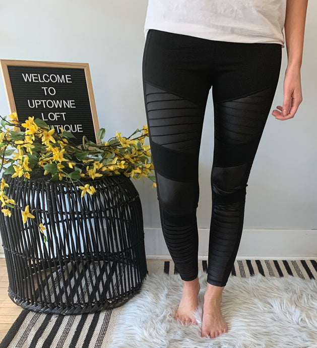 Black Faux Leather Moto Leggings