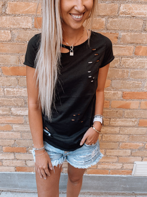 All Over Distressed Tshirt