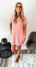 Pink Stripe Ribbed Tshirt Dress