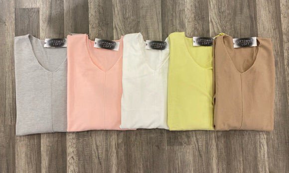 Everyday Soft Vneck Top- 5 colors