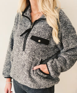 Grey Fur Half Zip