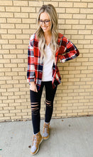 Red Plaid Button Down Shacket