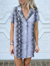 Snakeskin Button Up Dress