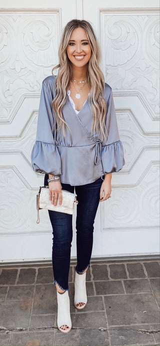 Lilac Gray Satin Blouse