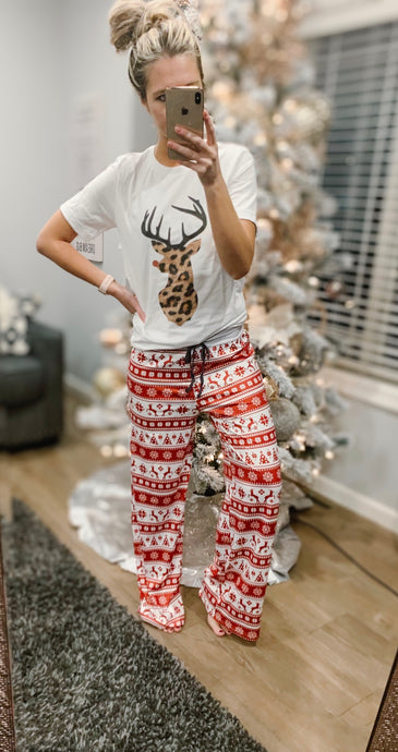 Christmas Print Wide Leg Pajama Pants