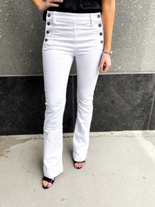 White High Rise Flare Jeans