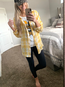 Yellow Plaid Button Top