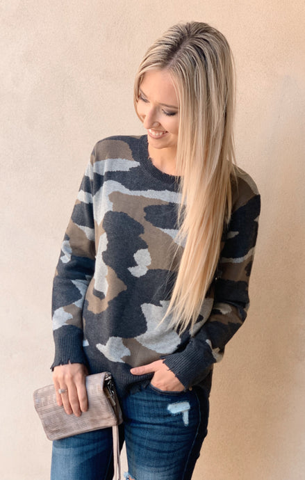 Camo Raw Edge Sweater