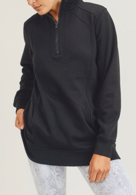 Black Active Half Zipper Sweatshirt