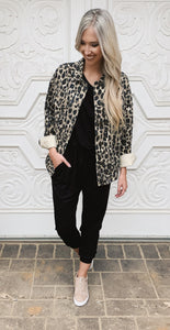 Leopard Buttoned Front Collar Jacket