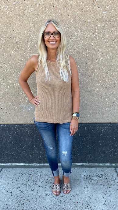 Cappuccino Sleeveless Sweater Tank