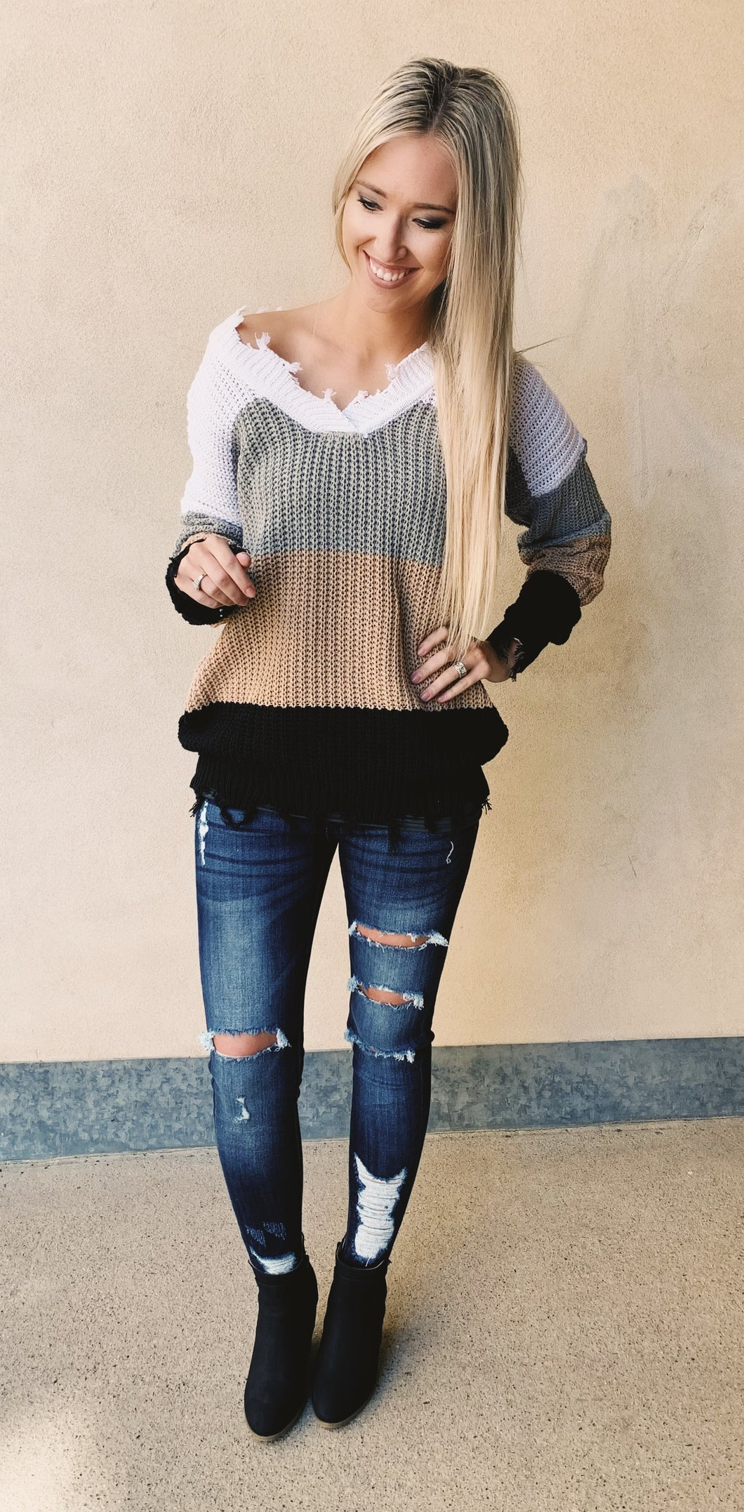 Ivory/Grey Colorblock Sweater