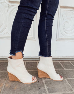 Sand Sabrina Open Toe Bootie Wedge