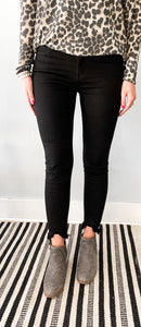 Black Skinny Jeans with Raw Hem