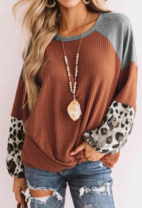 Rust Leopard Knot Top