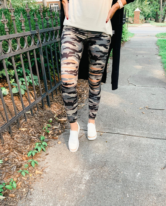 Camo Laser Cut Leggings