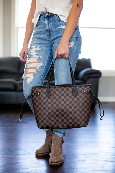 Lacey Checkered Tote- 2 colors