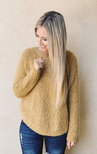 Mustard Boucle Soft Sweater