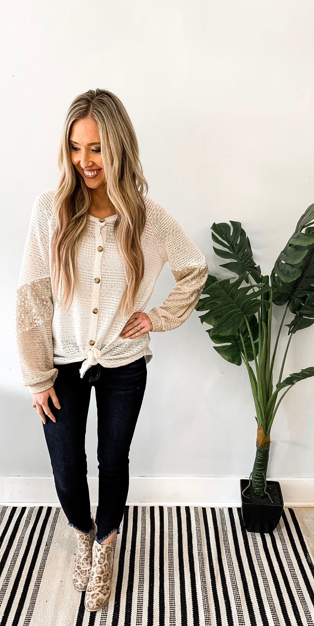 Button Down Sequin Top