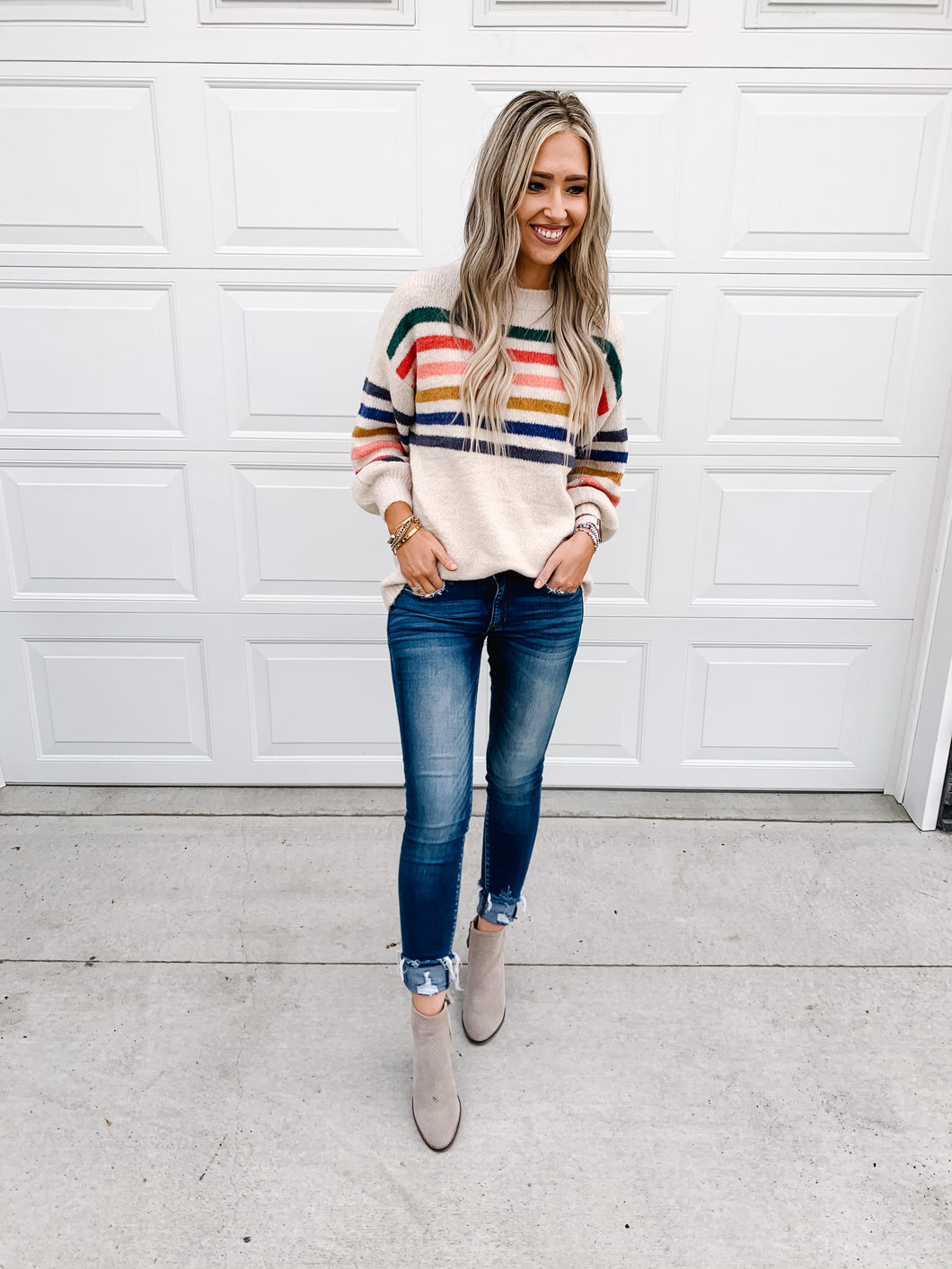Multi Stripe Sweater with Puff Sleeve