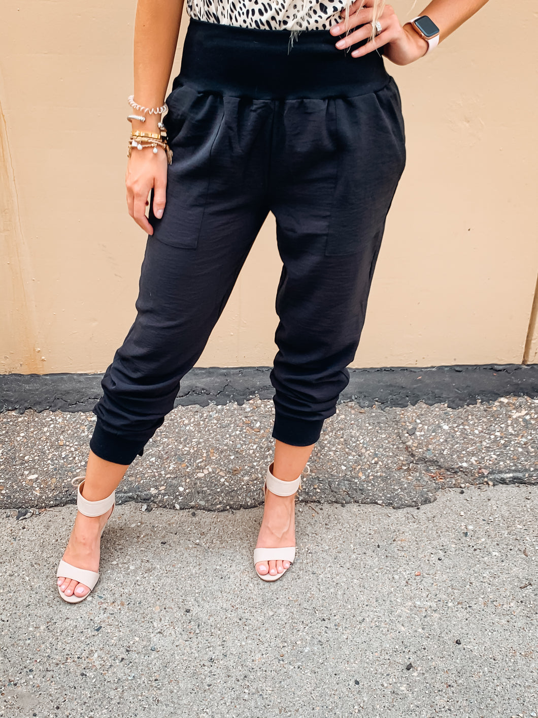 Black Joggers with Bottom Slit