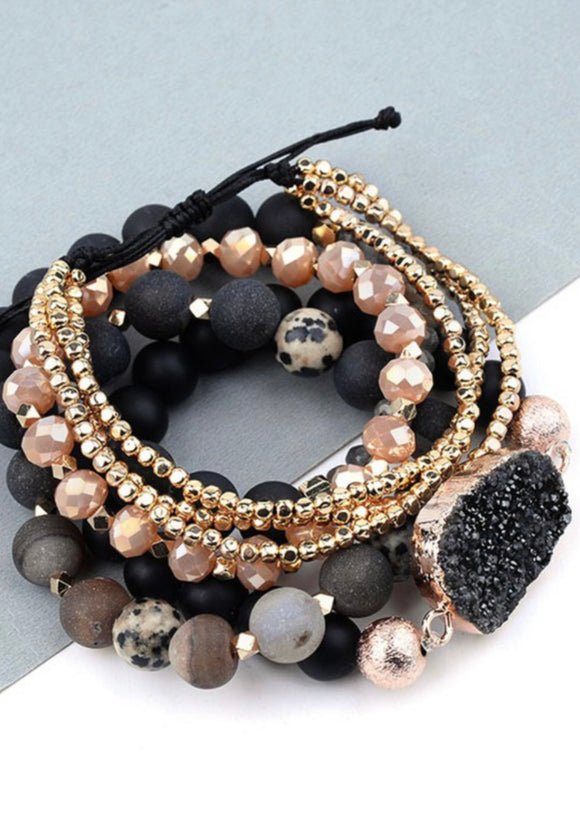 Black Druzy Beaded 5 Piece Bracelet Set