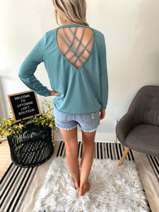 Mint Top with Criss Cross Caged Back