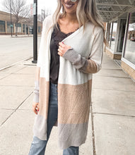 Ivory Taupe Color Block Cardigan