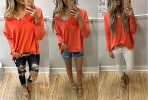 Tangerine Mineral Wash Knit Sweater