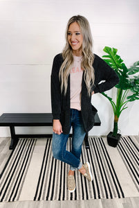 Charcoal Ribbed Cardigan