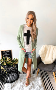 Mint Long Duster Cardigan