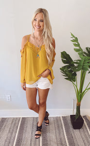 Mustard Strap Detail Cold Shoulder Top