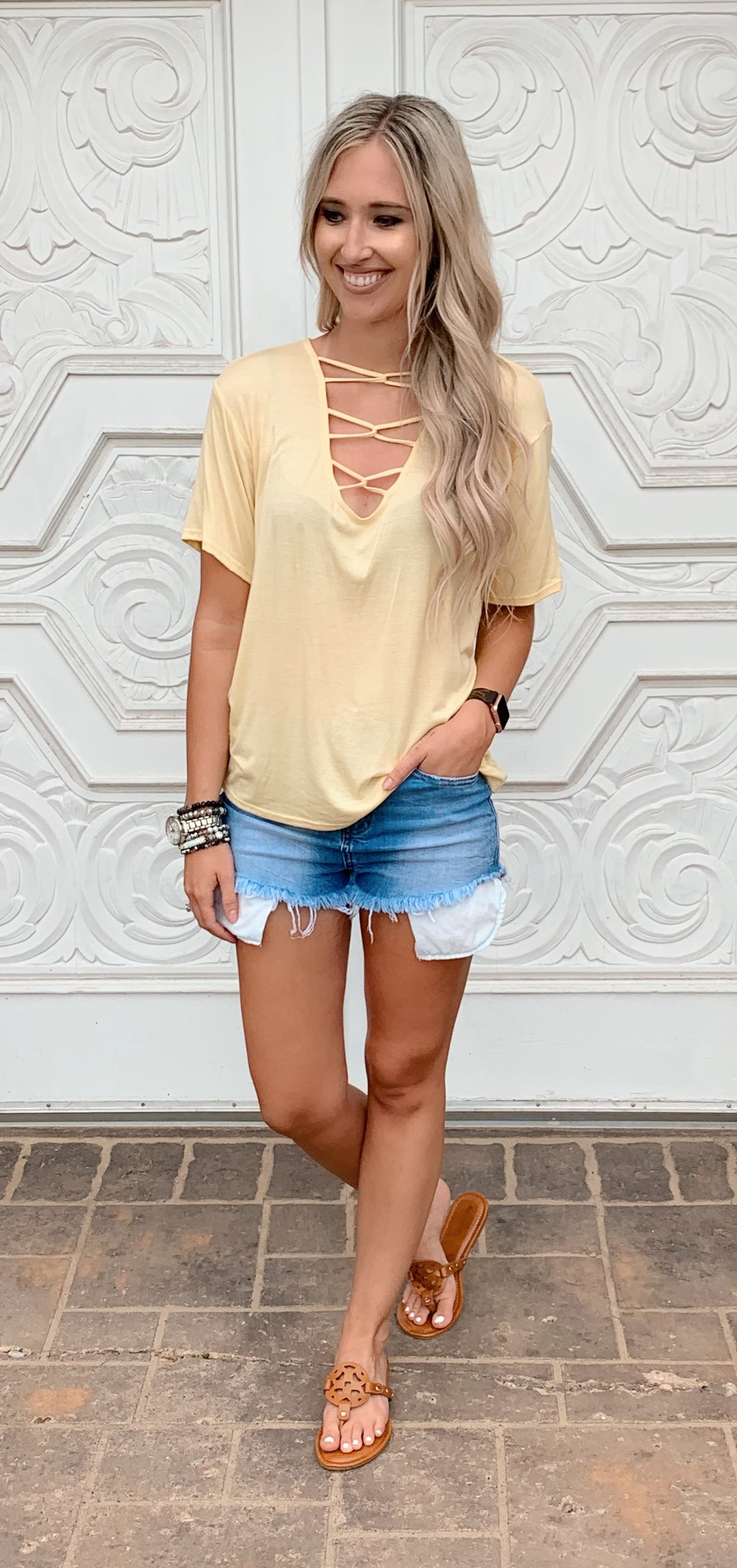 Lace Up Vneck Tshirt