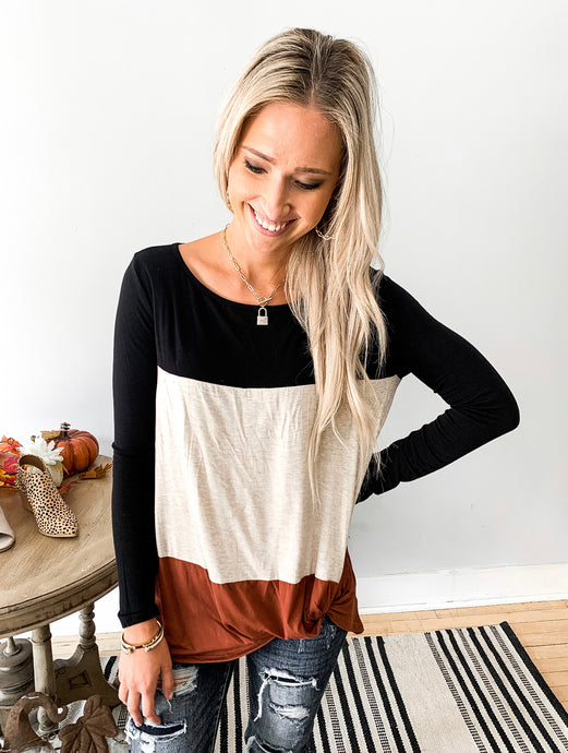 Color Block Bottom Twist Top