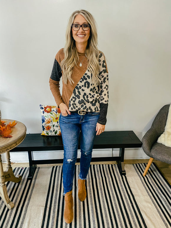 Camel and Leopard Print Long Sleeve Top