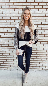 Black Color Block Snakeskin Sleeve Top