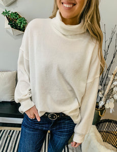 Soft Thermal Knit High Neck Sweater- 2 colors
