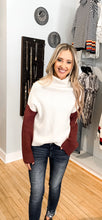 White/ Marsala Colorblock Turtle Neck Sweater