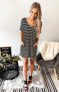 Black/ White Stripe Cotton Tshirt Dress