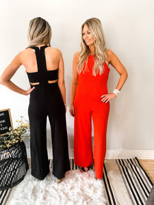 Red Jumpsuit with Back Side Slits