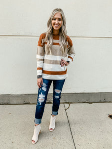 Rust Stripe Sweater with Side Slits