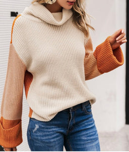 Color Block Turtle Neck Sweater with Wide Sleeve-2 colors